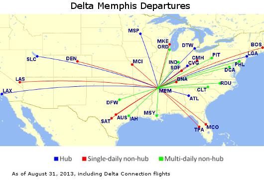 Delta Memphis Map 64 Departures per Day