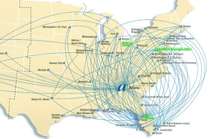 AirTran Route Map