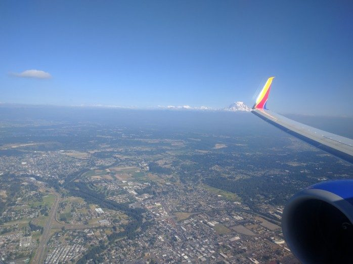 Southwest Winglet Kissing Mt Rainier